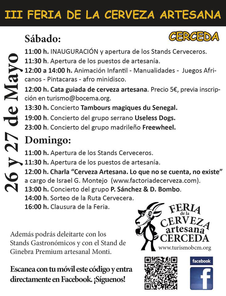 Detalle del Programa de la III Feria de Cervezas Artesanas de Cerceda