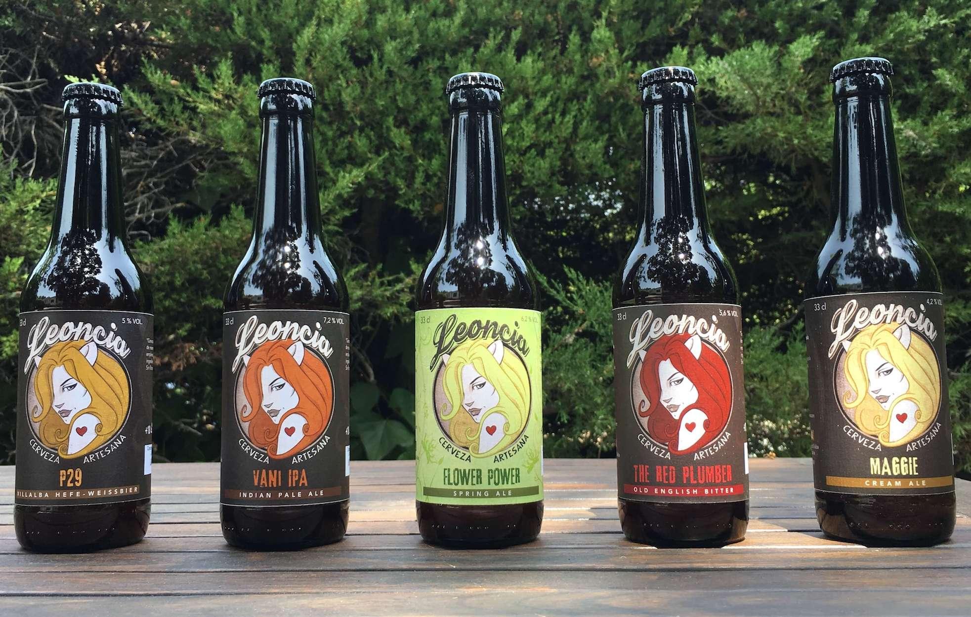 Botellines de 33 Cl de cerveza artesana Leoncia. Trigo, Tostada, Ale, Ipa, Rubia.