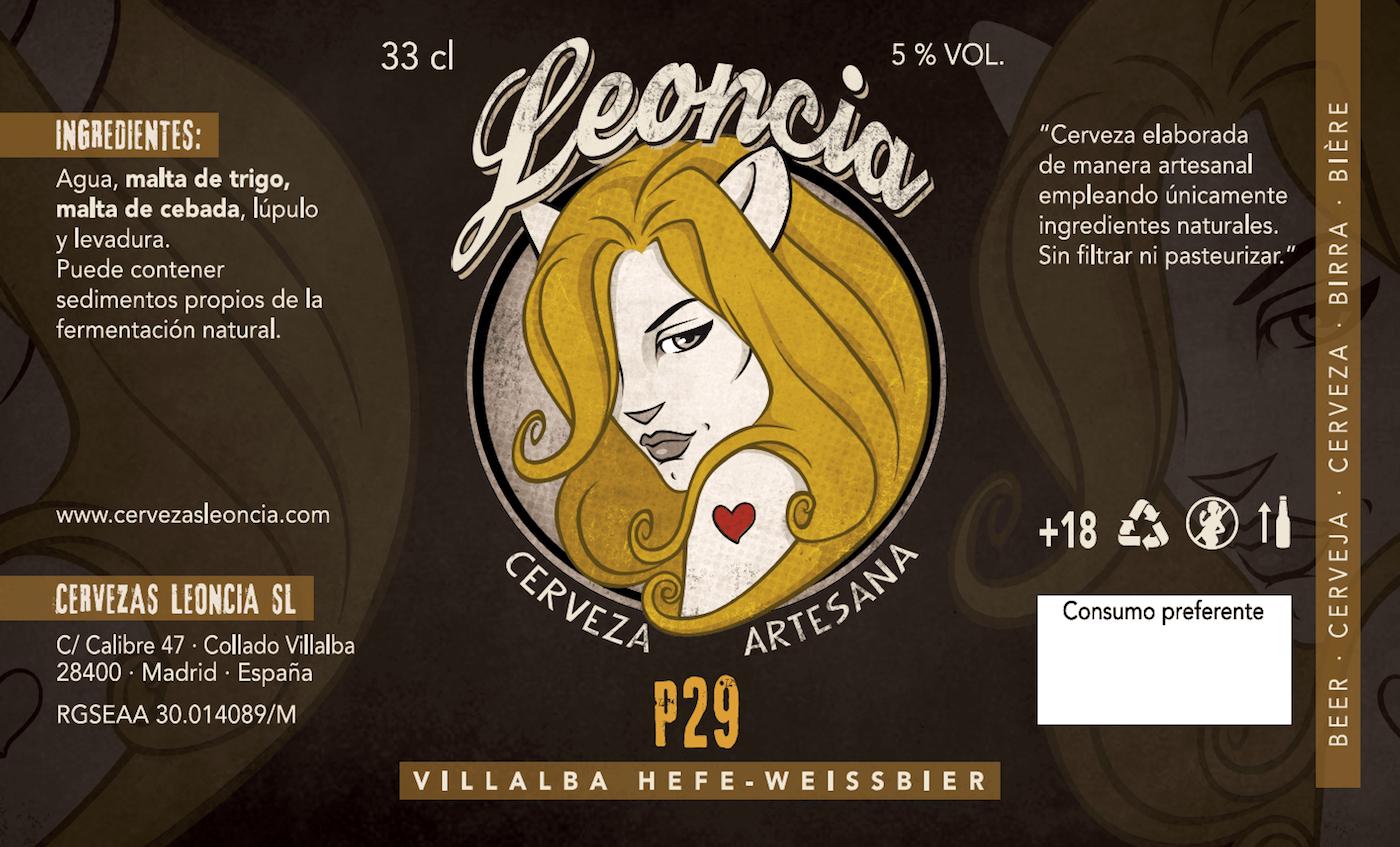 P29, la cerveza artesana de trigo de Villalba, fabricada por Cervezas Leoncia.