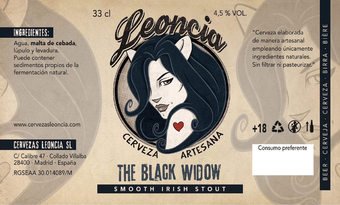 Cerveza Artesanal Leoncia THE BLACK WIDOW smooth Irish Stout.