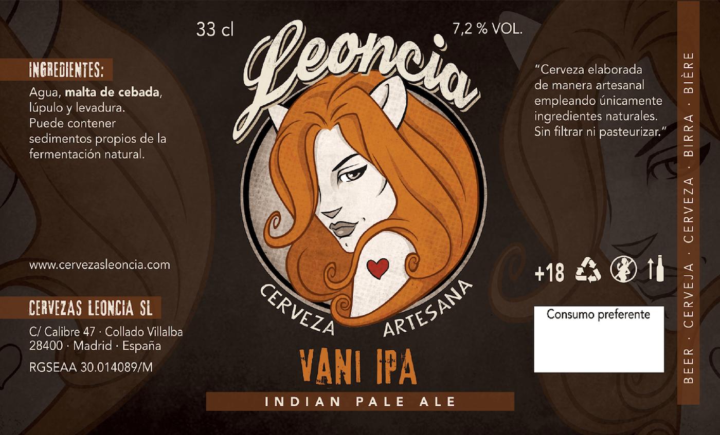 Cerveza artesana Ipa. Leoncia VANI IPA Indian Pale Ale