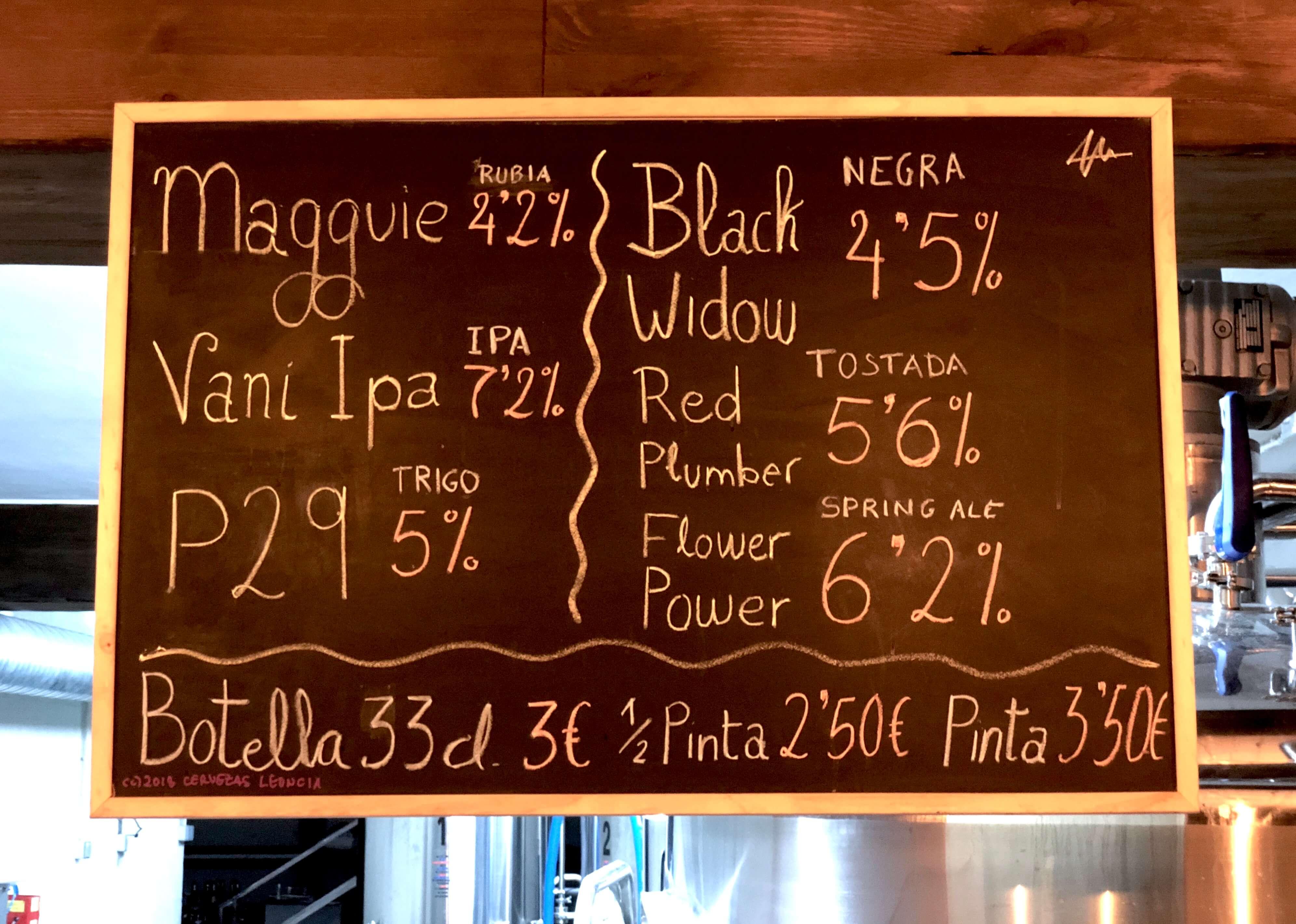 Detalle de los precios de Precios las cervezas artesanas Leoncia en la Fábrica del Polígono P29 de Collado Villalba.