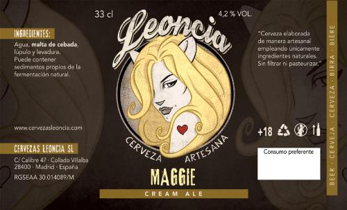Cerveza artesana rubia Leoncia Maggie Cream Ale