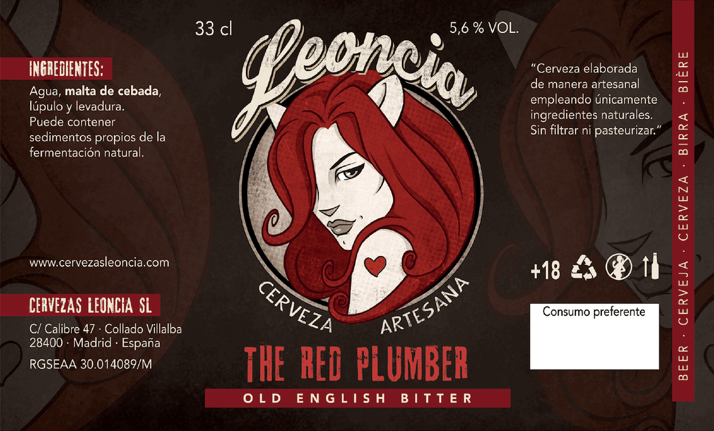 Cerveza artesana tostada Leoncia Red Plumber Old English Bitter.