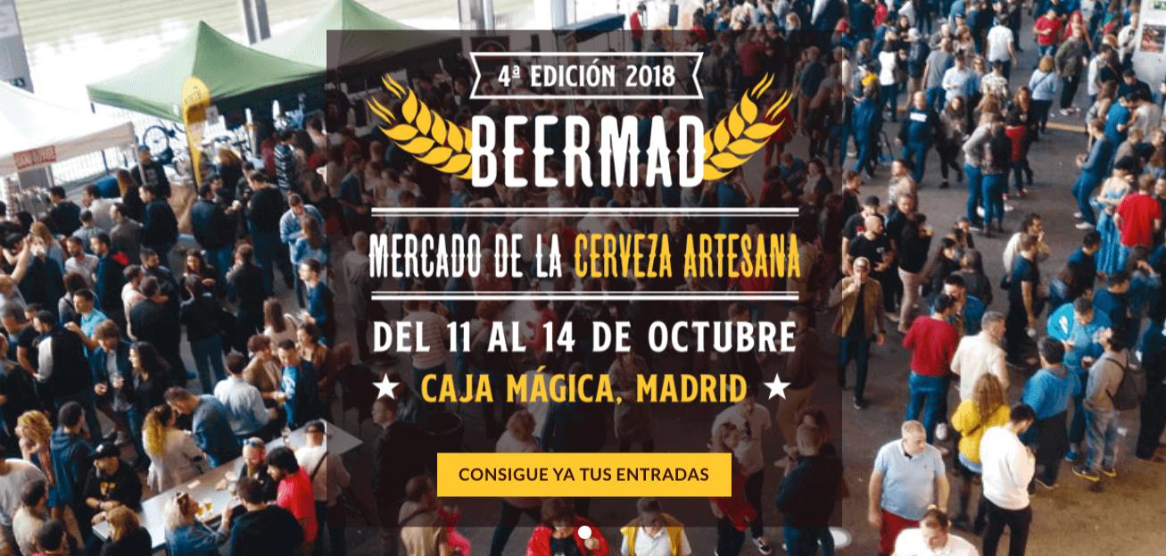 Logo y enlace a la web de Beermad 2018. Del 11 al 14 de Octubre, se celebrará la 4 feria de la cerveza artesana de Madrid en la Caja Mágica, con conciertos, street food, expositores y catas