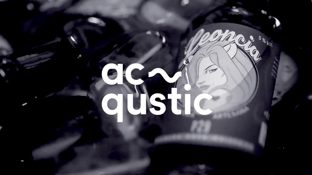 Foto de cervezas artesana de trigo Leoncia P29 y logo de los Acqustic