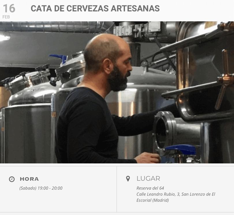 Cata de cervezas artesanas Leoncia en Reserva del 64, San Lorenzo de El Escorial