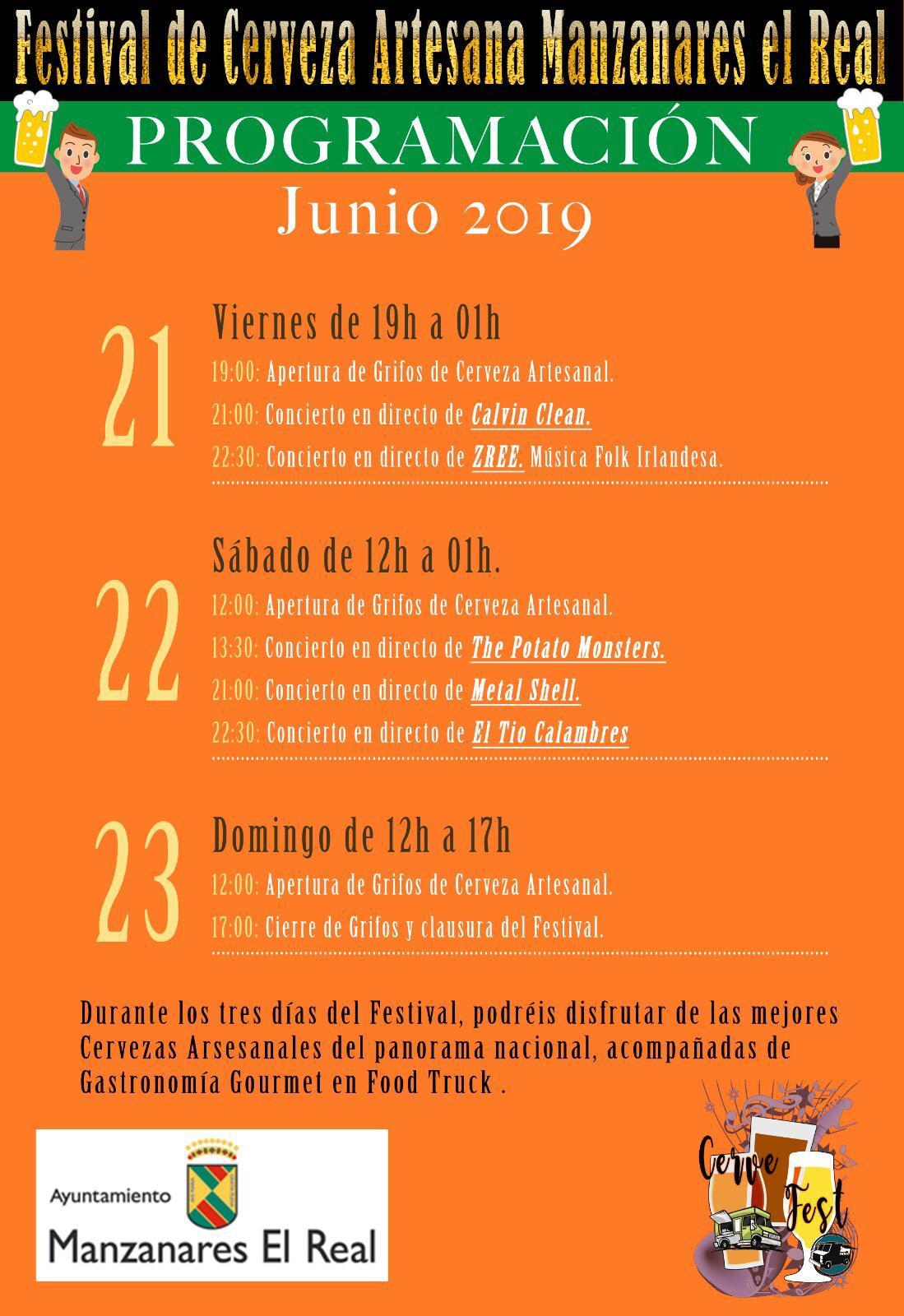 Programa del Festival de la Cerveza artesana de Manzanares El Real 2019