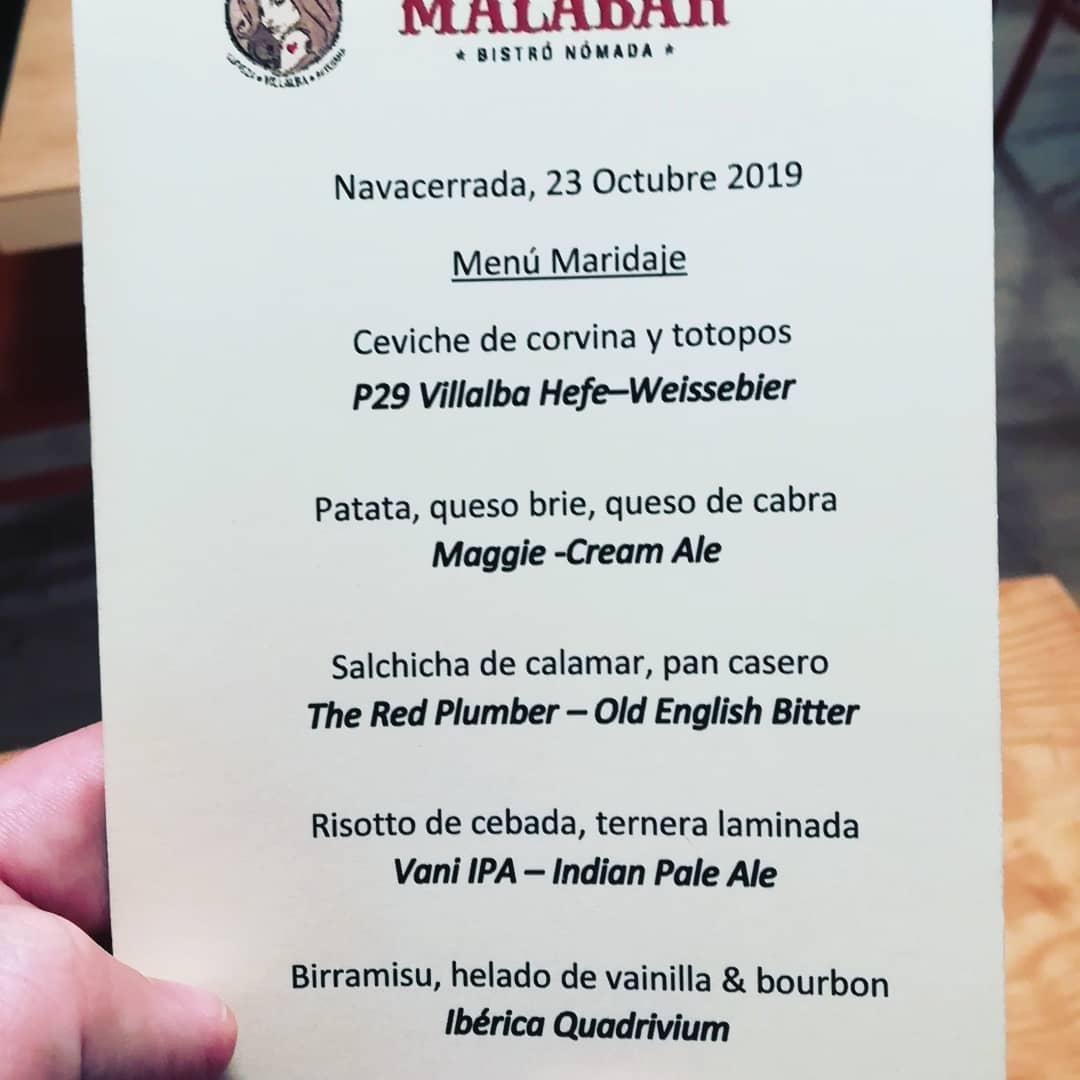 Menú de maridaje con cervezas Leoncia en Malabar Bistro