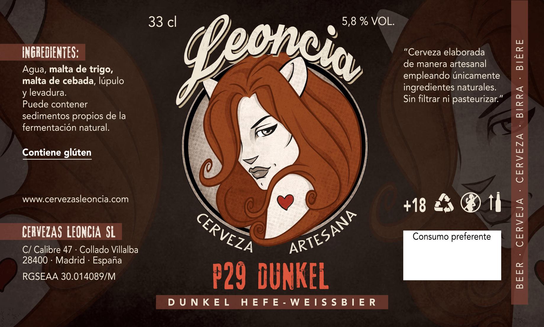 Cerveza artesana de trigo P29 Dunkel